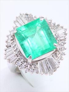 エメラルドダイヤリング(Pt900 , エメラルド5.96ct , ダイヤモンド1.50ct)
