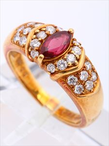 ルビー・ダイヤリング(K18 , ルビー 0.553ct , ダイヤモンド 0.45ct)