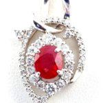 ルビー・ダイヤモンド ネックレス(ビルマ産 , Pt850×Pt900 , 1.00ct)