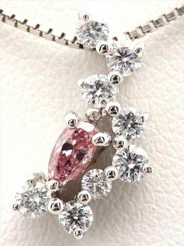 ピンクダイヤモンドネックレス Pt900×Pt850