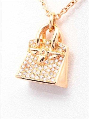 K18 エルメス バーキンモチーフ ダイヤモンドネックレス 10.6g