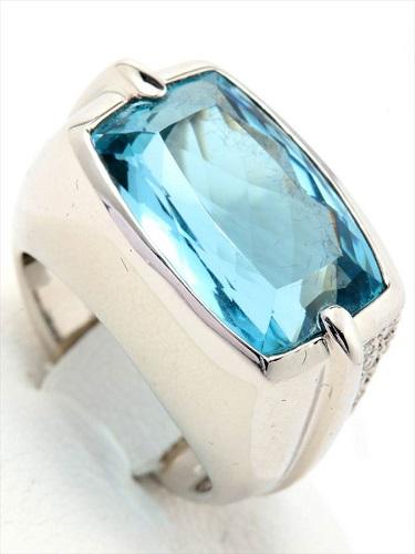 Pt900 アクアマリン ダイヤモンドリング 20.1g