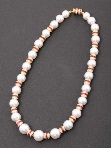 パール ルビー ダイヤモンド ネックレス 総重量86.9g K18
