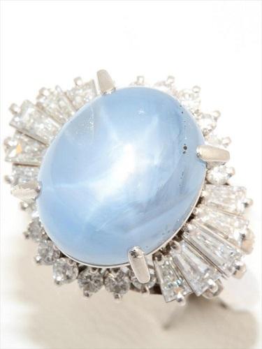 スターサファイア ダイヤモンド リング Pm900 14.2ct
