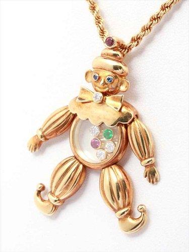 ショパール ハッピーダイヤモンド ピエロモチーフ ネックレス 750YG 24.5g
