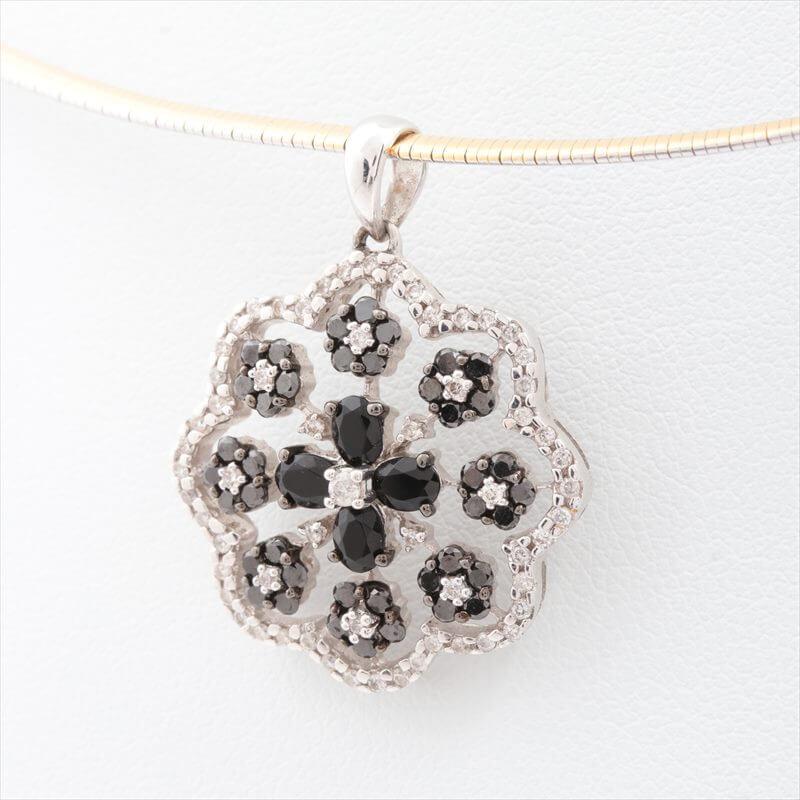 ブラックダイヤ ネックレス 18金(K18) ホワイトゴールド ×18金(K18)