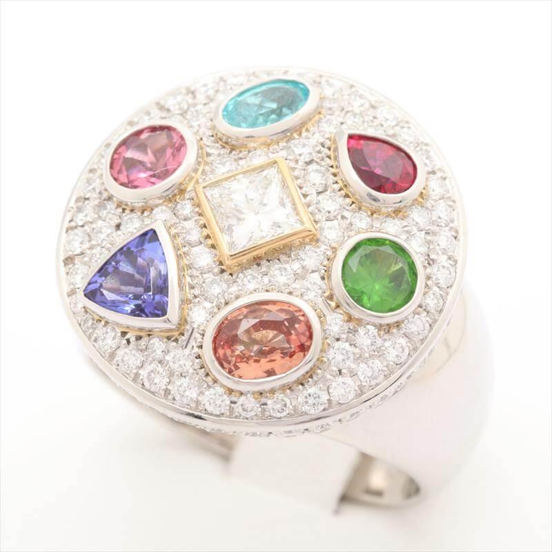 マルチカラー ダイヤモンドリング Pt900