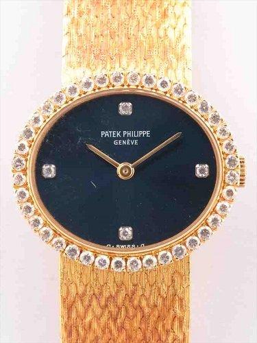 パテック フィリップ ゴールデン・エリプス 750YG ダイヤベゼル 青文字盤