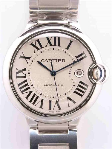 カルティエ バロンブルーLM W69012Z4 メンズ時計 シルバーギョーシェ文字盤
