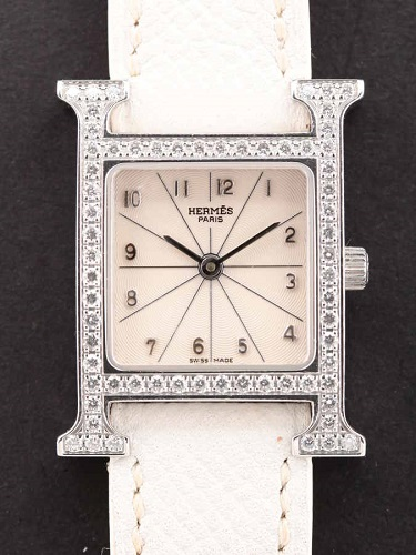 エルメス Hウォッチ HH1.230 SS×ダイヤベゼル 白ギョーシェ文字盤