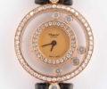 ショパール ハッピーダイヤモンド 20/3957 ベゼル2重ダイヤ 750/革/QZ 5PD シャンパン文字盤