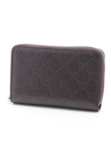 グッチ 財布 グッチシマ ラウンドファスナー コンパクトウォレット 茶色