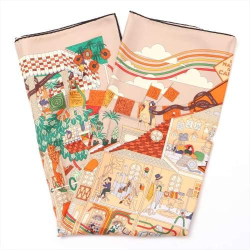 エルメス カレ90 「La Maison des Carres(メゾンデカレ)」 スカーフ シルク オレンジ