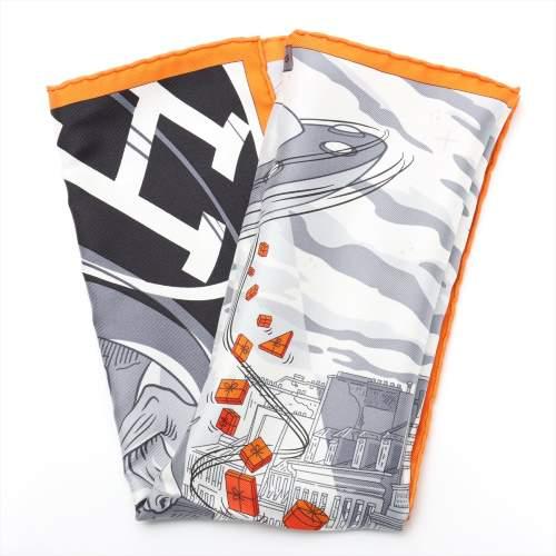エルメス カレ45 「Space Shopping au Faubourg(フォーブールでのスペースショッピング)」 スカーフ シルク オレンジ