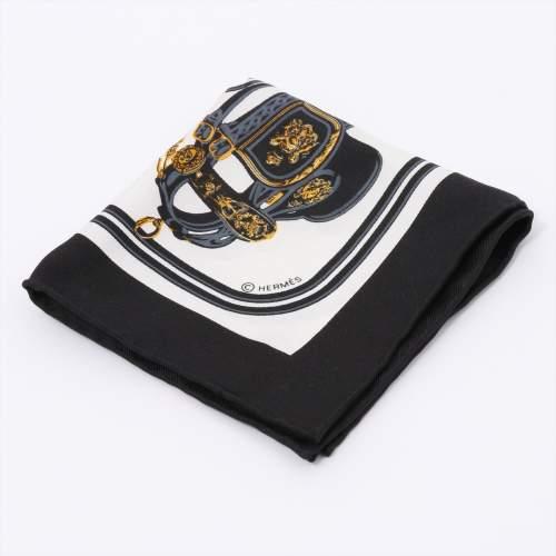 エルメス カレナノ 「BRIDES de GALA(式典用馬勒)」 スカーフ シルク ブラック×ホワイト