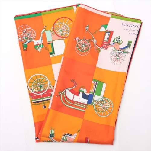 エルメス カレ90 「Voitures Exquises(精巧な馬車)」 スカーフ シルク オレンジ