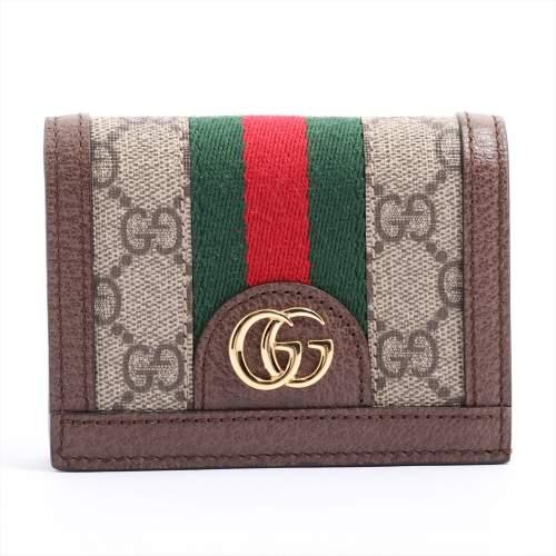 グッチ GGスプリーム シェリー PVC×レザー 財布 ブラウン