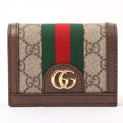 グッチ GGスプリーム オフィディア 523155 PVC×レザー 財布 ベージュ