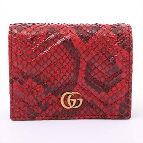グッチ GGマーモント 466492 パイソン 財布 レッド