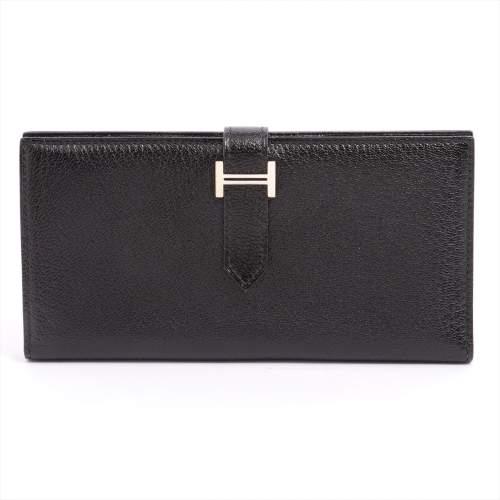 エルメス ベアンスフレ シェブルミゾル 財布 ブラック シルバー金具 □J:2006年