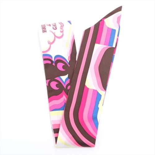 エルメス ツイリー 「Brides de Gara Shadow(ブリッドドゥガラシャドー)」 スカーフ シルク ピンク