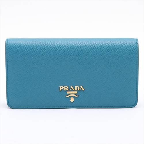 プラダ サフィアーノ チェーンショルダーバッグ ブルー 1DH044